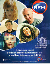 PUBLICITE ADVERTISING 114  2003  RFM radio BOB MARLEY DAVID BOWIE PHIL COLLINS
