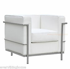 LE CORBUSIER STYLE WHITE LC2 CHAIR GENUINE TOP GRAIN LEATHER STAINLESS FRAME