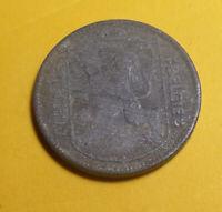 1943 Belgium 1 Franc Coin (Zinc) Leopold III - BELGIE BELGIQUE - Arms of Brabant