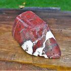 Skulptur Levanto Rosso roter Serpentin 0,5 Kg weiße Calcit Adern Anti Stress Zen