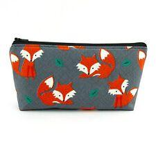 Cosmetic Bag, Zip Pouch, Makeup Bag, Pencil Case, Travel Bag - Orange Fox