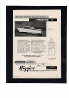 VINTAGE 1958 HIGGINS BOAT YACHT POWERBOAT CRUISER LUXURY OCEAN AD PRINT
