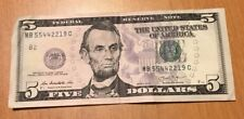 2013 $5 Bill Federal Reserve Note MB 55442219 C, Repeater Serial Number