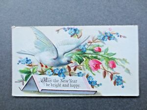 Antique NEW YEAR Card Embossed White Dove Forget Me Nots Victorian Chromo Litho