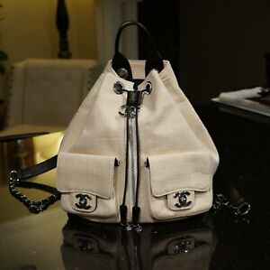 Authentic Chanel Backpack, Beige Canvas , Silver tone