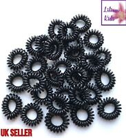 Spiral Coil Wire Hair Bands/Bobbles - Black - 5,10,20 Packs