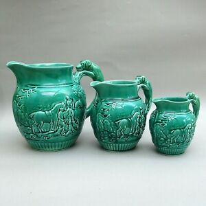 Set of 3 Vintage Wedgwood Hunting Jugs ~ Green Majolica ~ Horse & Hounds / Dogs