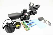 ANS 2.5-10X40 Tactical Rifle Scope with Red Laser & Reflex Dot Sight & Batteries