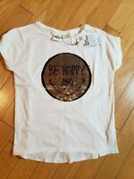 NWT girls ZARA white tshirt with sequins Smiley size 13-14