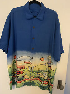 MAMBO Vintage Rayon Loud Shirt Jesus on a motorcycle - size XXL