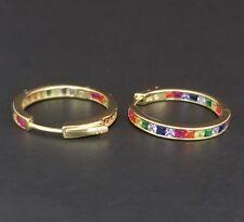 14k Yellow Gold Sterling Silver Square Ruby & Rainbow Multi Gem Hoop Earrings