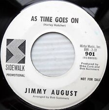 JIMMY AUGUST popcorn rock country promo 45 AS TIME GOES ON CROSS THE RIVER F2668