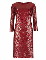 New M&S Red Sequin Embellish Tunic Shift Dress Size 12 14 16 18 20 22 S R L