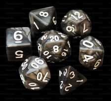 NEW 7 Piece Polyhedral Dice Set - Onyx Oculus Black Marble - Black Dice Bag