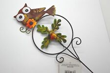 "Indoor Outdoor Yard Garden Pot Tin Pick Metal Stake Brown Owl 22""h #29"