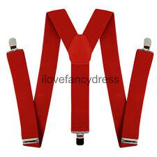 RED BRACES ADJUSTABLE ELASTIC THICK SUSPENDERS MENS LADIES TROUSER BRACE