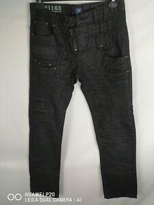 JAPRAG BLACK MENS WAXED/VULCANISED REGULAR FIT STRAIGHT LEG DENIM JEANS W31 L34