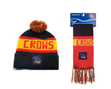 SET OF 2 ADELAIDE CROWS AFL FOOTBALL PATCH BAR SCARF & PATCH BAR BEANIE