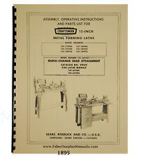 Sears Craftsman 12 Lathe 10127580 90 10128930 405070 Withqc Manual 1895