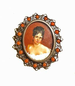 ANTIQUE JEWELRY 1850 Coral Sterling Silver Painted Portrait Miniature Brooch Pin