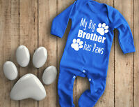My big brother has Paws royal blue baby grow bodysuit rompersuit sleepsuit