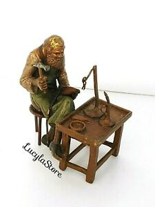 Austria Franz Bergman Colored Cold Painted Bronze Figure Man Artisan Shoemaker