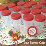 18 Pill Bottle 2oz JARS Plastic Container Party Favors Candy RED Caps  #4314 NEW