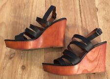 99a9715f0cdb Lucky Brand Larinaa Platform Wedge Sandals Heels Size 8.5 Black Leather  Strappy
