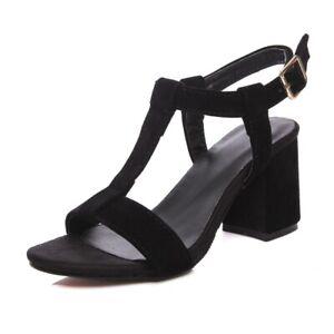 Hot Womens Open Toe Slingback Sandal Block Heel Ankle Strap Casual Dress Shoes D