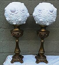 Rose Globe Shade Cased Glass Pair of Lamps Hollywood Regency Pink Vintage