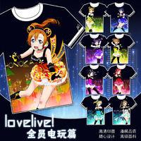 Anime LoveLive! ラブライブ!Black TEE T-Shirt Tops Short Sleeve Unisex True Color#852