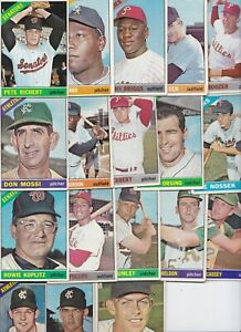 Lot of 17 different 1966 Topps Baseball cards - lower grade