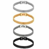 Men's Punk Biker Stainless Steel Two-Strand Wheat Chain Bracelet Wristband