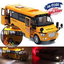 Metal School Bus Model Open Doors Pull Back Kids Xmas Gift Sound Light Car Toys