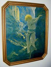 "ART DECO ERA MAXFIELD PARRISH CANYON PRINT AUTHENTIC OCTAGONAL WOOD FRAME 16"""