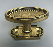 Antique French Victorian Solid Brass Oval Door Knob Handle
