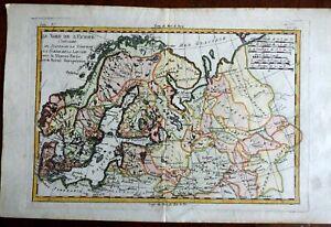 Scandinavia Russian Empire Baltic States Courland Perm 1780 Bonne engraved map