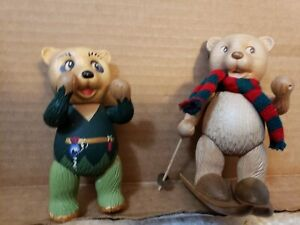 """TWO Robert Raikes Fantasy Woodkin Wood Carved Bear Figures 4"""" & 5"""" Excel sgnd"""