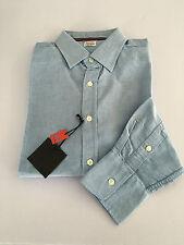 VINTAGE 55 linea LUXURY BASIC camicia uomo Oxford celeste 100% cotone slim Tg.XL