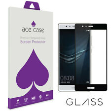 Huawei P9 Screen Protector Tempered Glass Shield - FULL CURVED COVERAGE - Black