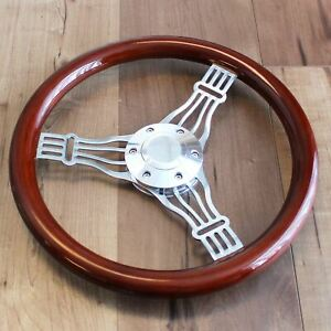 "14"" 3 Spoke Chrome Banjo Wood Steering Wheel, 6 Hole Hot Rod Ford Chevy Truck"