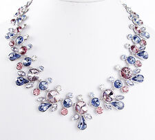 Givenchy Silver Tone CRESCENT Purple Pink Swarovski Crystal Collar Necklace