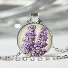 Purple Lilacs Tibet silver dome Glass Cabochon Necklace chain Pendant #418