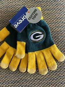 NEW With Tags-GREEN BAY PACKERS- NFL Knit Gloves With Texting Tips -Youth Size