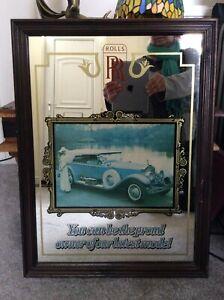 Vintage Rolls Royce Framed Advertising Mirror