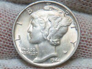 1944 P Silver Mercury Dime GEM BU Uncirculated and free shipping