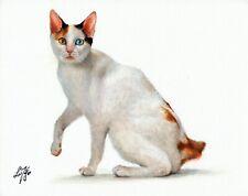 Original Oil Portrait Painting Art Japanese Bobtail Tortoiseshell & White Cat