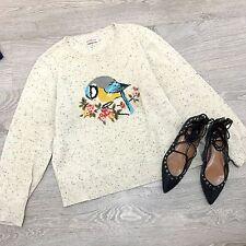 Cath Kidston Beige Melange Knit Floral Crotchet Bird Sweater Jumper L 12 14