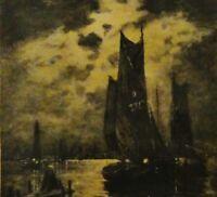 Antoine J DELZERS,1873-1956 Litho um 1910: FISCHEREIHAFEN BEI NACHT /n. MARONIEZ