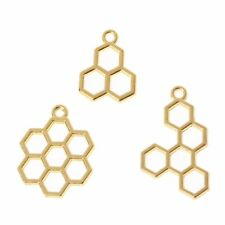 3Pcs Bee Honeycomb Metal Frame Pendant Open Bezel Setting UV Resin Jewelry DIY